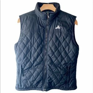 EMS Size M Black Quilted Puffer Vest Lilac Lined